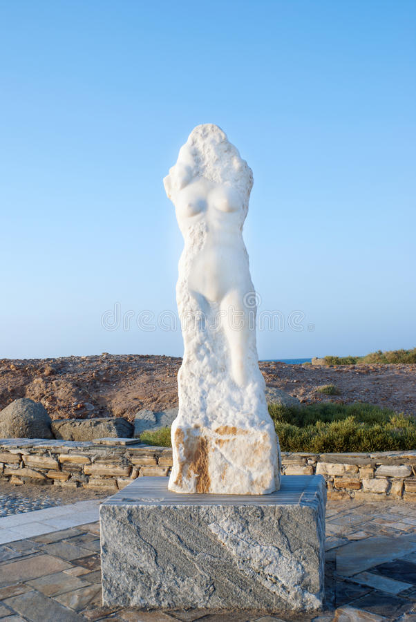 Statue der Marmoraphrodite (oder des Venus) von Milos fand bei Naxos lizenzfreies stockbild