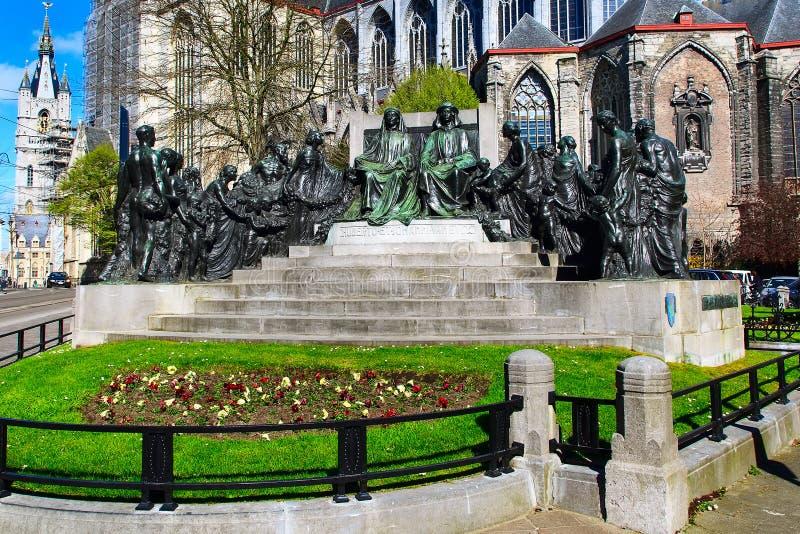 Statue der Packwagen Eyck-Brüder in Gent lizenzfreie stockfotografie