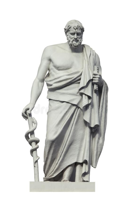 Statue des altgriechischen phisician Hippokrateses lizenzfreies stockfoto