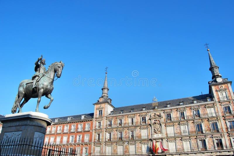 Statue des Königs Philips III, Piazza-Bürgermeister, Madrid lizenzfreie stockbilder