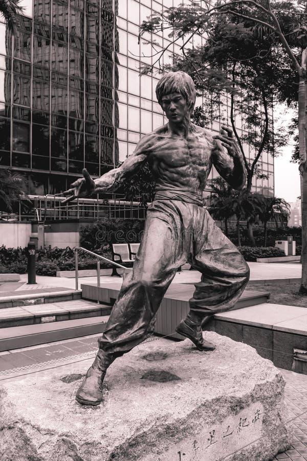 Statue des Kung-Fu-Filmdarstellers Bruce Lee in Hong Kong China stockbilder