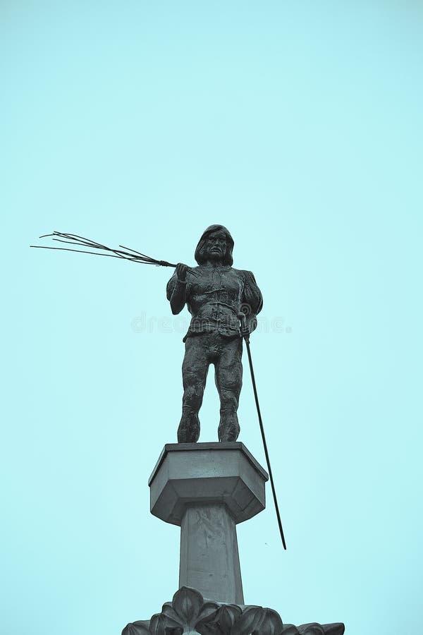 Statue des Punisher auf die Oberseite des Steinpillory Pranger auf dem Marktplatz in Breslau, Polen stockbild