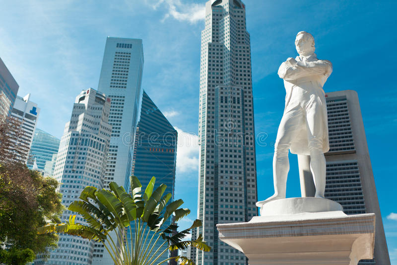 Statue des Sirs Raffles, Singapur stockfoto