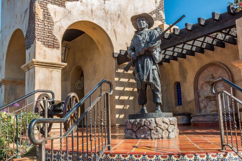 Statue des Soldaten am mormonischen Bataillon-Standort in San Diego lizenzfreies stockbild