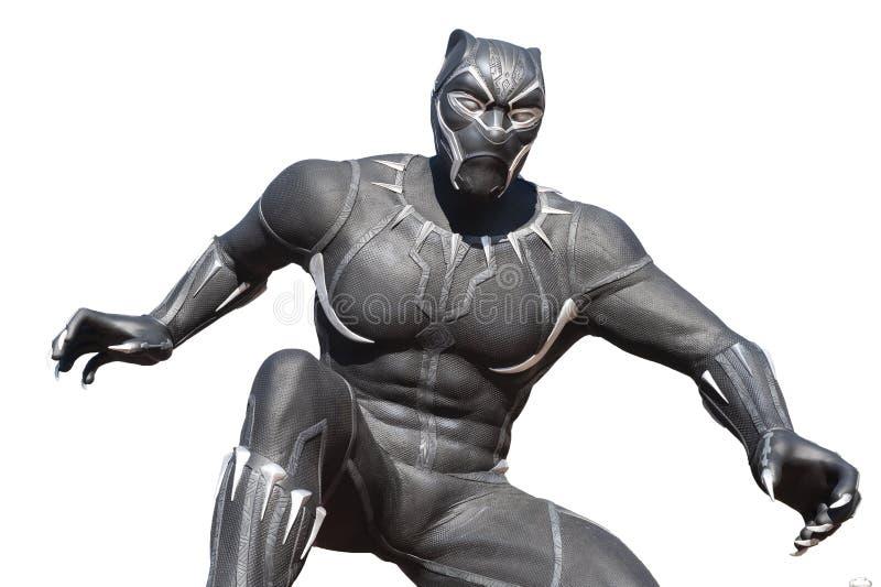 Statue des Superhelden des schwarzen Panthers in Disney Paris lizenzfreie stockbilder