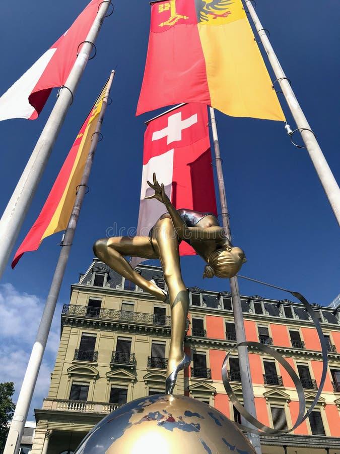 Statue devant le Palais Wilson image stock