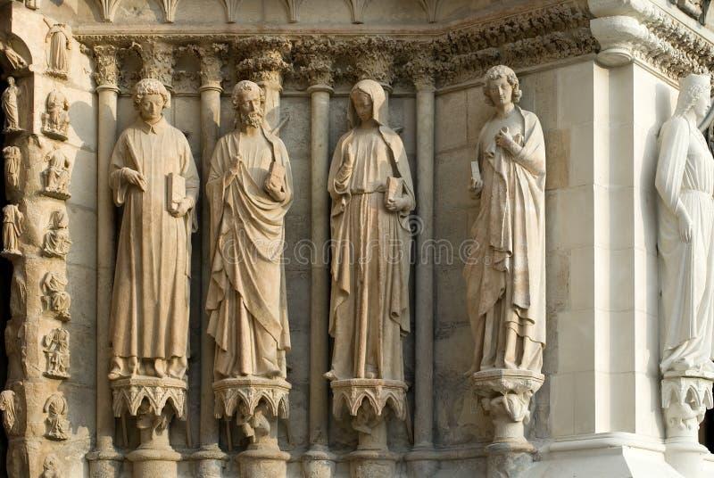 Statue Di Pietra, Cattedrale Di Reims, Immagine Stock Libera da Diritti