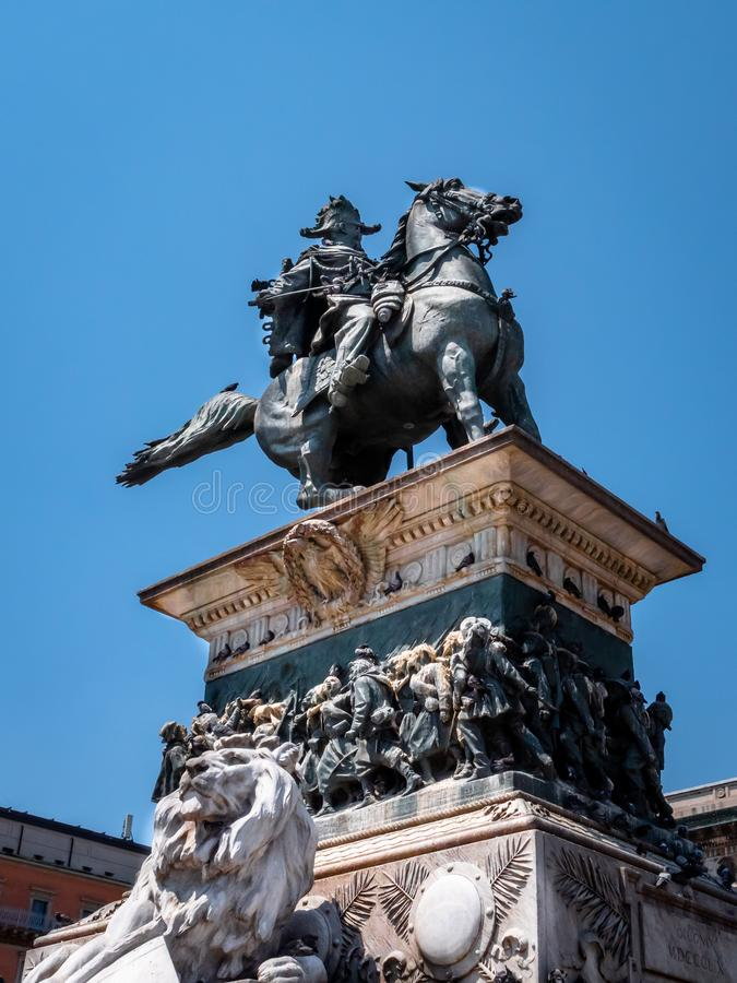 Statue di Vittorio Emanuele II a cavallo. Statue of the first king of a united Italy who ruled from 1861 to his death in 1878 stock photography