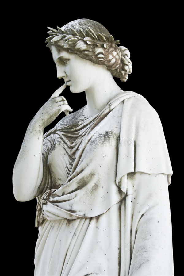 Statue, die ein griechisches mythisches Musen zeigt lizenzfreies stockbild