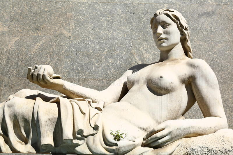 Statue of Dora, Turin, Italy. Symbolic representation of River Dora as a beautiful woman royalty free stock images