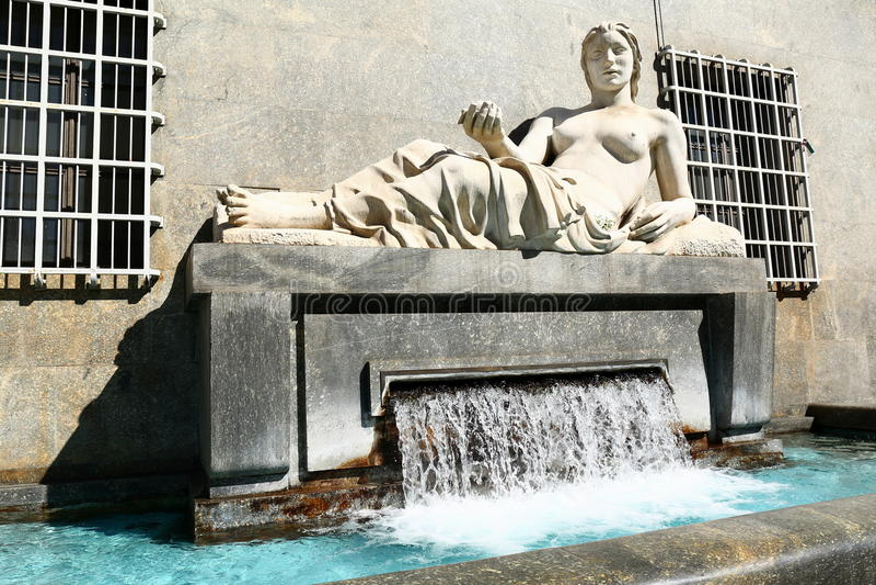 Statue of Dora, Turin, Italy. Symbolic representation of River Dora as a beautiful woman stock photography
