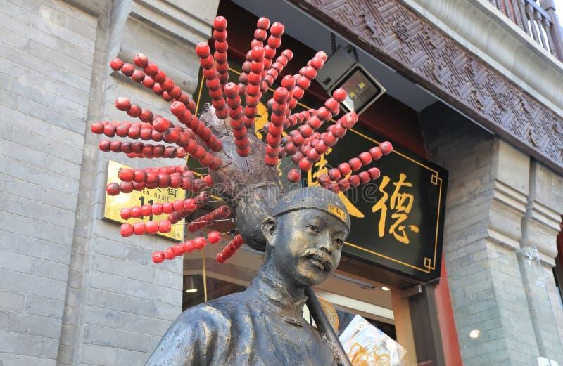 Statue douce chinoise Pékin Chine de brochette de pomme photo stock
