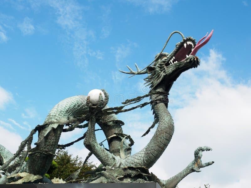 Statue of a dragon at Haedong Yonggungsa Temple. In Busan, South Korea royalty free stock photo