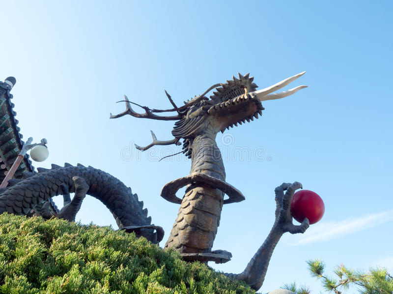 Statue of a dragon at Haedong Yonggungsa Temple. In Busan, South Korea royalty free stock photography