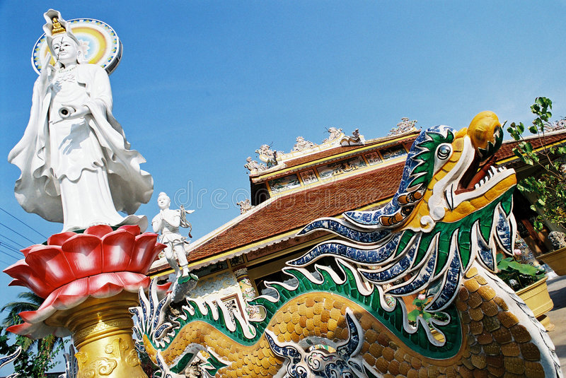 Statue and a dragon - Laos stock image