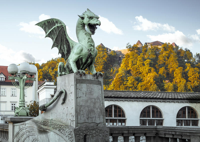 Statue of dragon in the old town of Ljubljana stock images