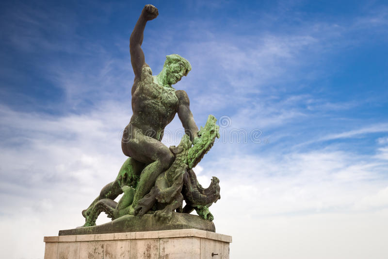 Statue of dragon slayer at the Citadel on Gellert hill in Budapest. Hungary stock photo