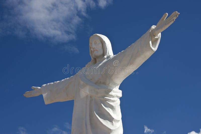 Statue du Christ au-dessus de Cuzco au Pérou photos libres de droits