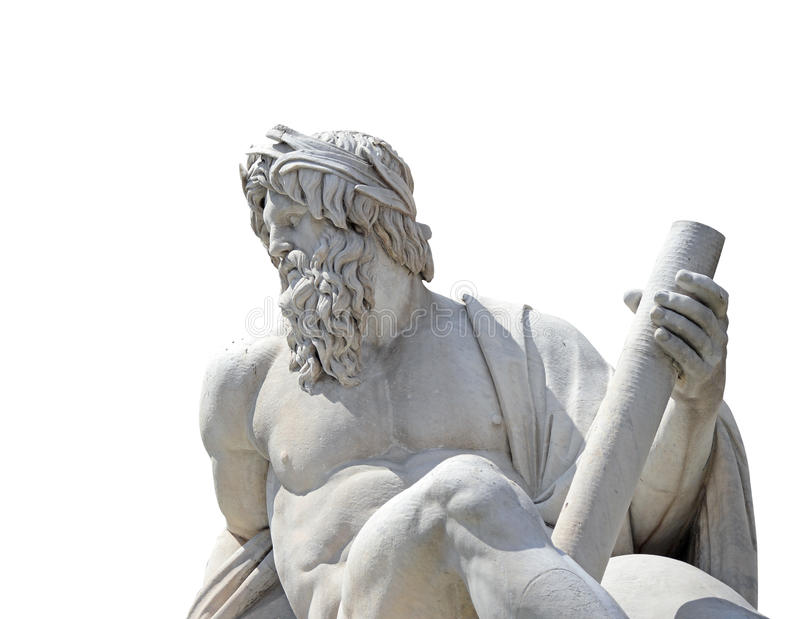 Statue du dieu Zeus dans la fontaine de Bernini des quatre rivières dans Piazza Navona, Rome (isolat avec le chemin de coupure) image stock