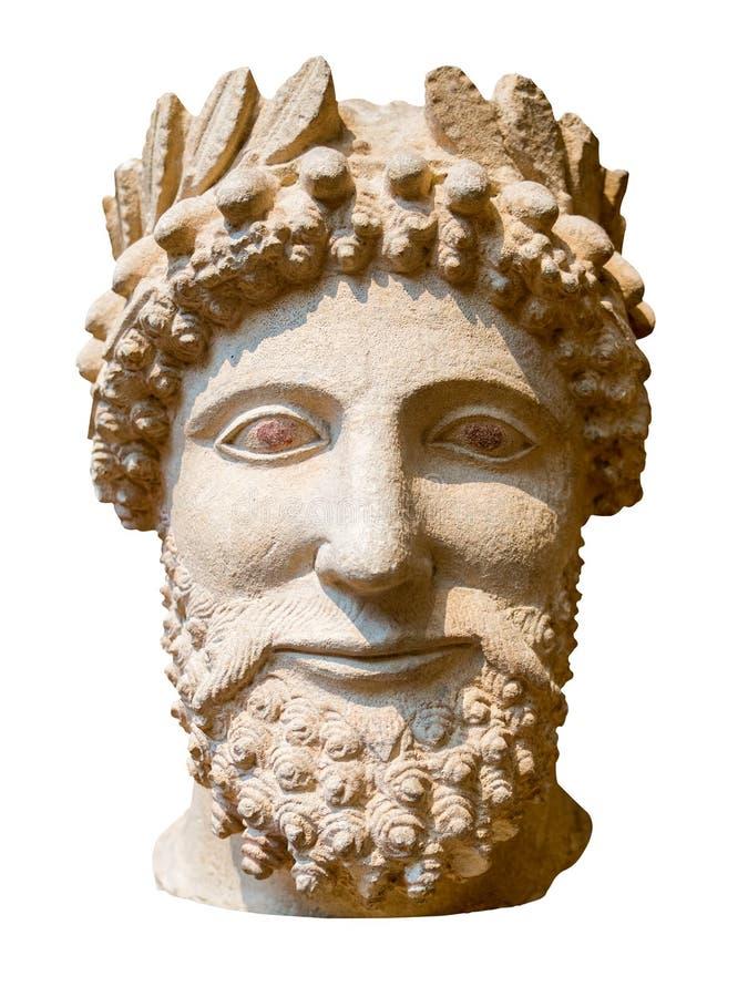 Statue du grec ancien d'un homme barbu d'isolement sur le blanc images libres de droits