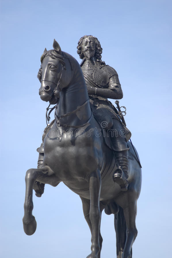 Statue du Roi Charles I, grand dos de Trafalgar, Londres image libre de droits