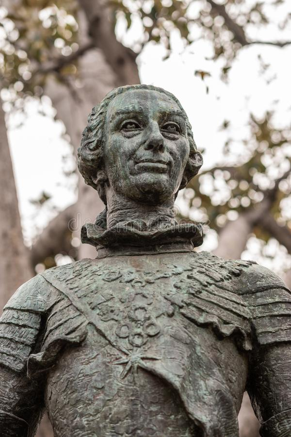 Statue du Roi espagnol Carlos III, fondateur de Los Angeles Califo photos libres de droits