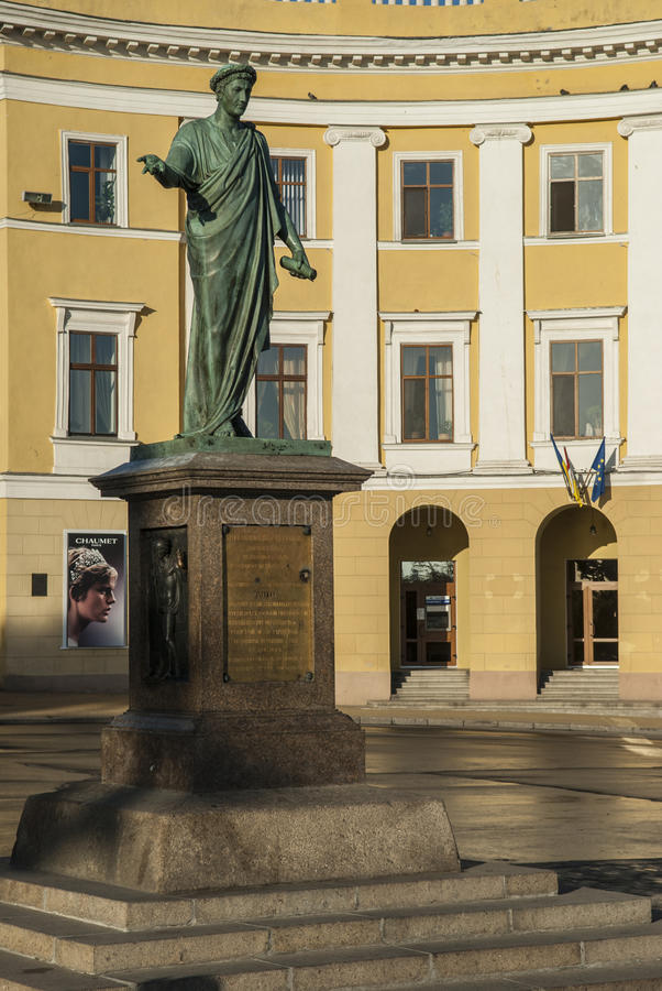Statue Duc Richelieu in Odessa stock photography