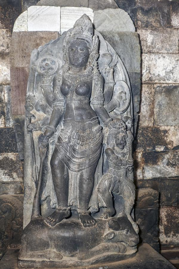 Statue of Durga Mahisasuramardini in the northern cella of Shiva temple royalty free stock photos