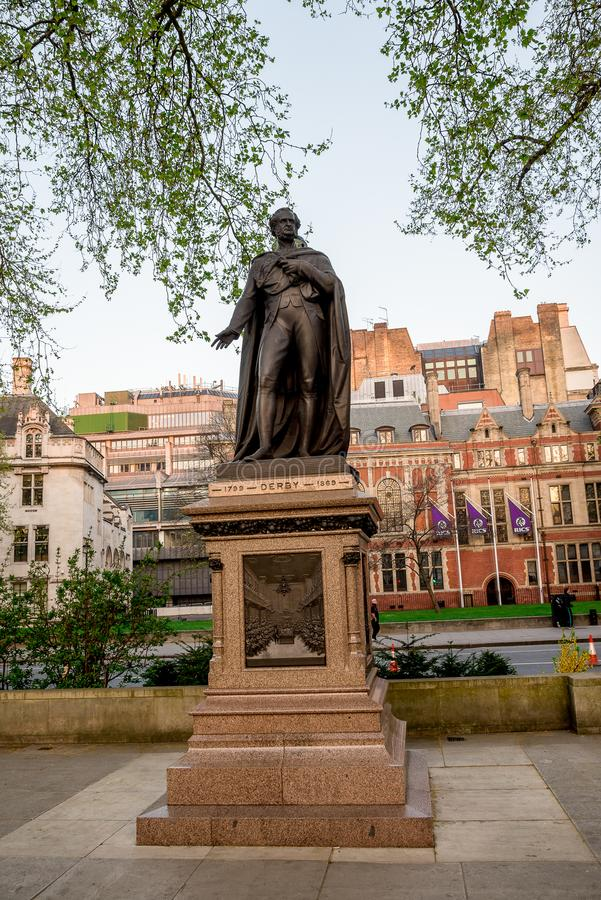 Statue of the Earl of Derby in Parliament Square Garden in Westminster, London. Statue of the Earl of Derby in Parliament Square Garden in Westminster, Central stock photography