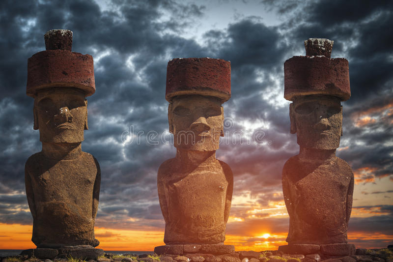 Statue on Easter Island or Rapa Nui in the southeastern Pacific. A statue on Easter Island or Rapa Nui in the southeastern Pacific, the territory of Chile stock photography