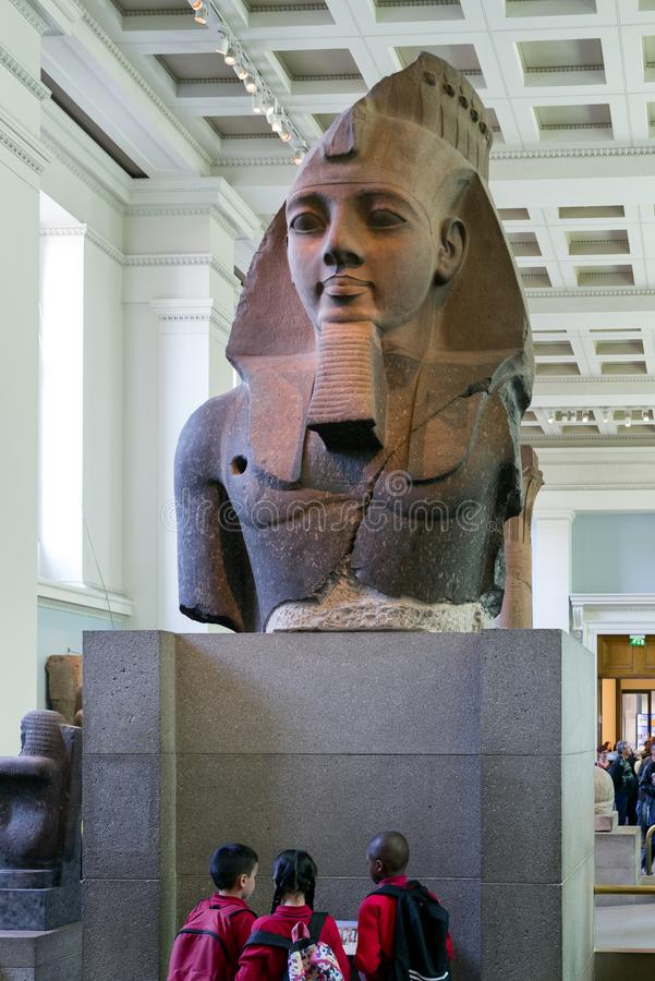 Statue of egyptian king Ramesses II in British museum, London stock photography