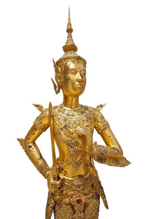 Statue eines goldenen kinnara lizenzfreie stockfotos