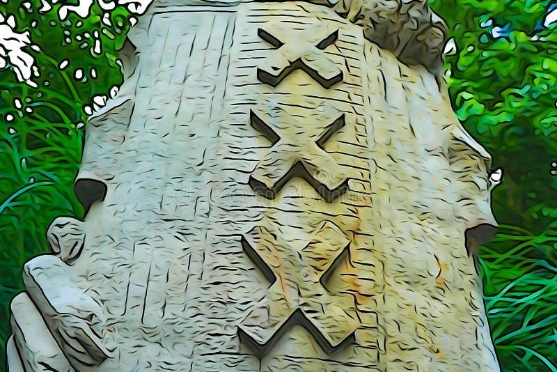 Statue eines Löwes, der ein Schild hält vektor abbildung