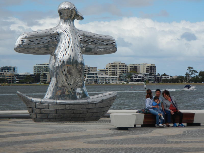Statue at Elizabeth Quay, Perth. Perth's latest recreational area for locals and tourists stock images