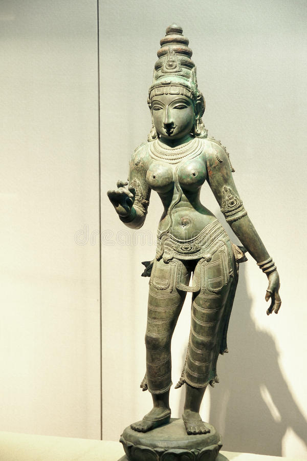 Statue en bronze antique d'Inde image stock