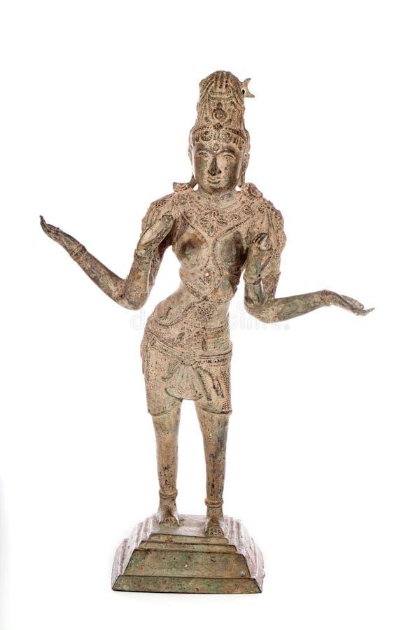 Statue en bronze antique traditionnelle de Lakshmi Hindu Goddess de nous photographie stock