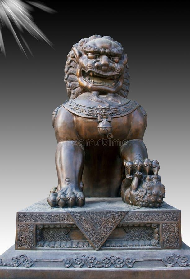Statue en bronze chinoise de lion photographie stock