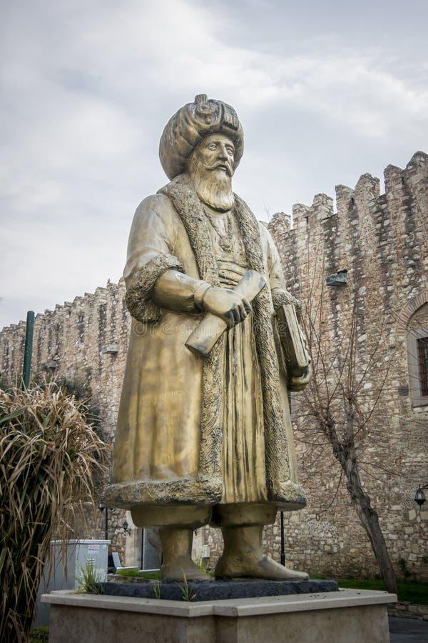 Statue en bronze d'Okuz Mehmet Pasha, Kusadasi, Turquie photographie stock libre de droits