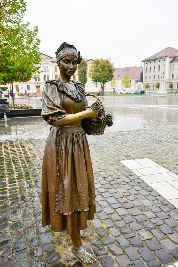 Statue en bronze de femme tenant le panier de fleur images stock