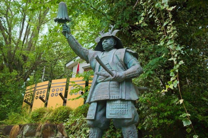 Statue en bronze de Yukimura Sanada à Osaka images libres de droits