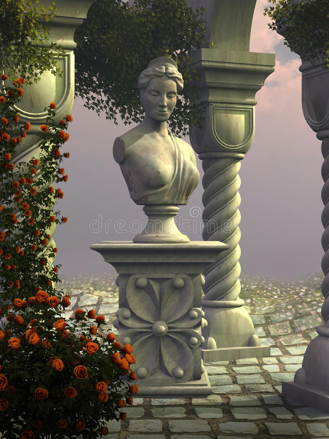 Statue en pierre d'un moine illustration stock