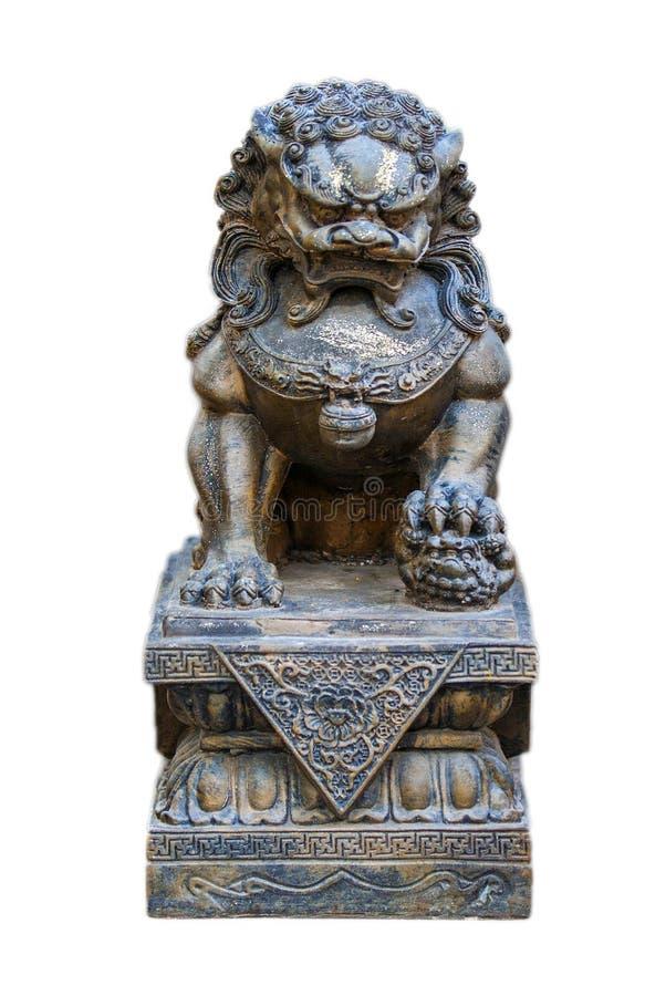 Statue en pierre d'un moine Garde de chien de Lion Foo Fu de gardien Sculpture bouddhiste images stock