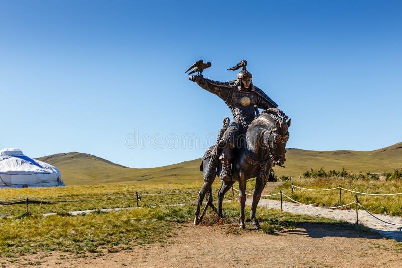 Statue equestri dei guerrieri di Gengis Khan fotografie stock