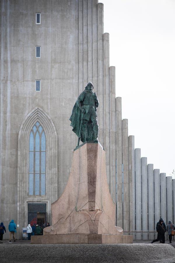 Leif Erikson monument in front of Hallgrímskirkja church, Iceland stock photos