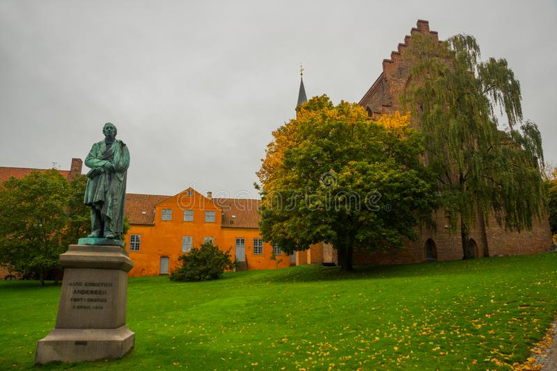 Statue of the famous novelist Hans Cristian Andersen in his born city: Odense in Funen, Denmark. Europe stock photos