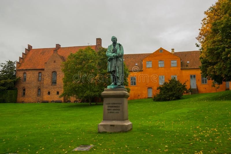 Statue of the famous novelist Hans Cristian Andersen in his born city: Odense in Funen, Denmark. Europe royalty free stock images