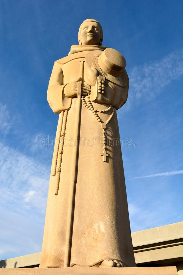 Statue of Father Francisco Garces in Bakersfield, CA. Bakersfield, California, United States of America - November 26, 2017. Large statue of Father Francisco stock photos