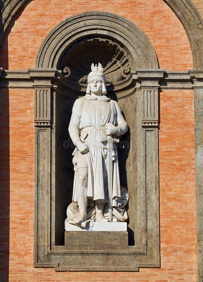Statue of Federico II di Svevia in Palazzo Reale di Napoli. Campania, Italy. Statue of Federico II di Svevia Frederick II, Holy Roman Emperor in the principal stock images