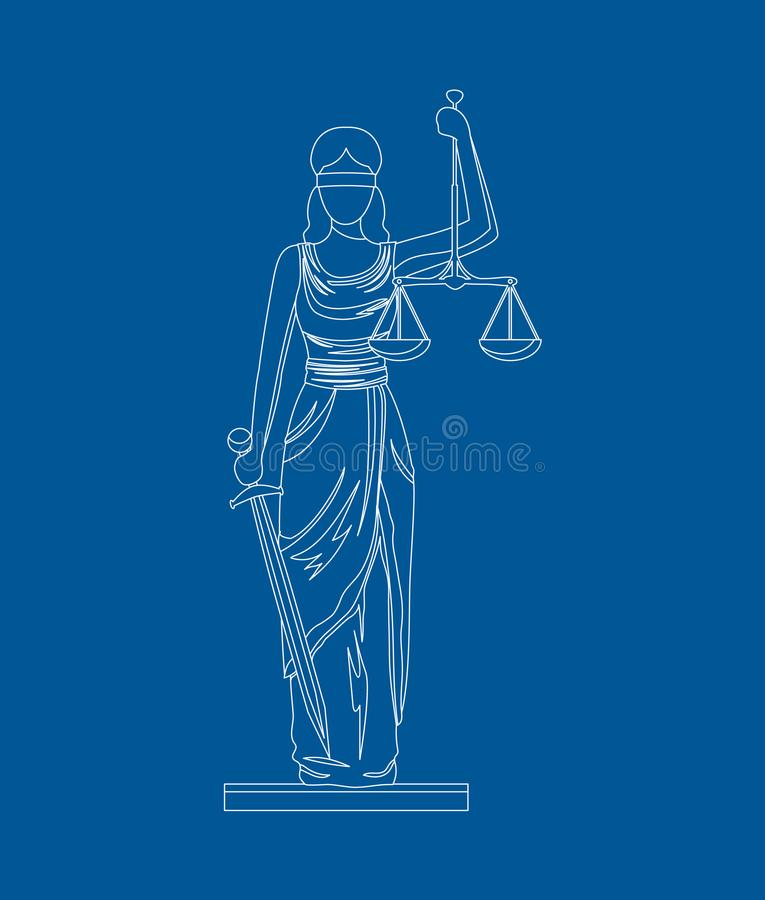 Statue of Femida. Vector. Statue of Femida with Scales and Sword Thin Line Style Design Symbol Law Web Element. Vector illustration of of God Justice royalty free illustration