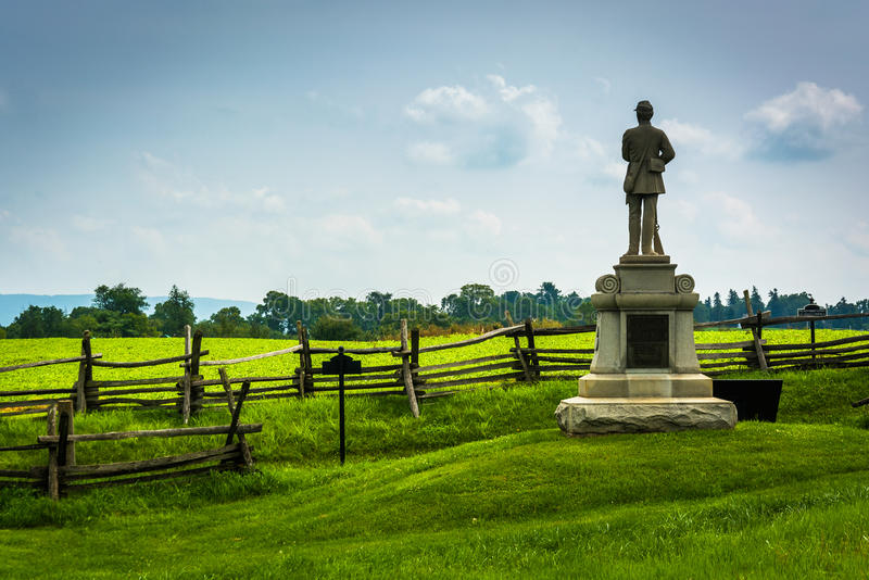 Statue and fence at Antietam National Battlefield, Maryland. The historic Joseph Poffenberger Farm at Antietam National Battlefield, Maryland royalty free stock photo